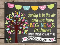 Spring Pregnancy Announcement Chalkboard Sign - Easter PRINTABLE PRINTED Pregnancy Reveal Chalkboard Big Brother Big Sister Chalk Poster