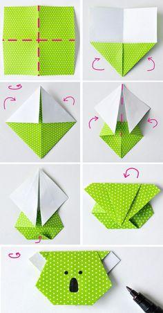 comment faire des origami facile tuto marque page koala en papier étapes de pliage