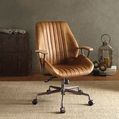 Hamilton Executive Office Chair in Coffee Top Grain Leather - Acme Furniture an edgy industrial style to your home office with the Hamilton office chair. This swivel and adjustable chair has a coffee colored top grain leather upholstery with cush Living Room Chairs, Dining Chairs, Dining Room, Desk Chairs, Bag Chairs, Lounge Chairs, Boardroom Chairs, Eames Chairs, Kitchen Dining