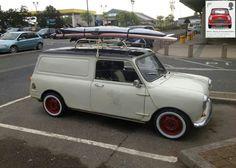 My first car was a Mini van no surf board though Classic Mini, Vans Classic, Minis, Morris Minor, Mini Clubman, Smart Car, Pedal Cars, Mini Cooper S, Custom Vans
