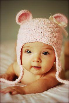Gorrinho ursinha #croche #baby