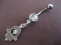 Belly Button Jewelry Dangly Hamsa Ring Turkish by Azeetadesigns, $14.00