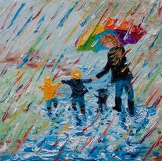"One of my favorite things . . . splashing in puddles under my big rainbow umbrella with my grandkids! This is one of several versions of ""puddle jumping"" I have listed. Family memories provide me with a treasure trove of inspirational ideas to paint. Palette Knife Painting; Colors of Cynthia Christine."