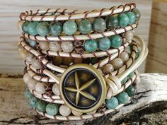 Sand and Sea beaded leather wrap bracelet Chan Luu style green leather wrap bohemian coastal ocean beach jewelry. $62.95, via Etsy.