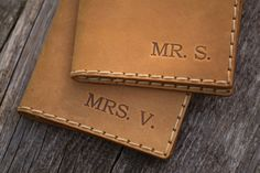 2 x Family Travel Wallets Tan Brown Leather Passport by HAPPER