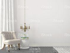 beige classique fauteuil et lustre – banque photo libre de droits
