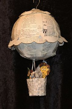 Oz Hot Air Balloon Book Sculpture by WetCanvasArt on Etsy, $115.00