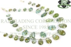Moss Aquamarine Faceted Pear (Quality B) Shape: Pear Faceted Length: 18 cm Weight Approx: 6 to 8 Grms. Size Approx: 6x8 to 8x13 mm Price $16.80 Each Strand