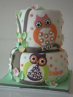 Owl theme for dual birthday.