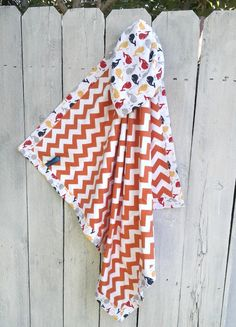 Orange Chevron Baby Boy Whale Shower Gift Idea by MamaJamaQuilts, $25.00