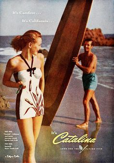 It's carefree...it's California...It's Catalina (1946). vintage 1940s swimsuits
