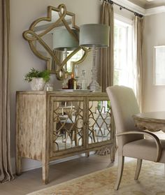 Hooker Furniture Sanctuary Two Door Mirrored Console - Olinde's Furniture - Buffet