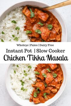 whole 30 recipes This Instant Pot Chicken Tikka Masala is a and dairy free version of the classic Indian dish. It comes together in less than 30 minutes and can be served over basmati rice or cauliflower rice for Chicken Tikka Masala, Poulet Tikka Masala, Indian Chicken, Paleo Recipes, Indian Food Recipes, Real Food Recipes, Paleo Food, Dairy Free Indian Food, Dairy Free Rice Recipes
