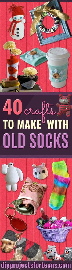 Cool Crafts Made With Old Socks - Fun DIY Projects and Gifts You Can Make With A Sock - Easy DIY Ideas for Teens, Teenagers, Kids and Adults - Step by Step Tutorials and Instructions for Making Room Decor, Animals, Cat, Rabbit, Owl, Puppets, Snowman, Gloves http://diyprojectsforteens.com/diy-crafts-ideas-socks