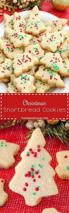 Christmas Shortbread Cookies - adorable, delicious, tasty and with only three ingredients! You need to add this lovely Christmas Shortbread Cookies to your Christmas! They were the best shortbread I've ever made. Yummy Cookies, Holiday Cookies, Holiday Treats, Holiday Recipes, Dinner Recipes, Christmas Recipes, Sugar Cookies, Cookies Soft, Molasses Cookies