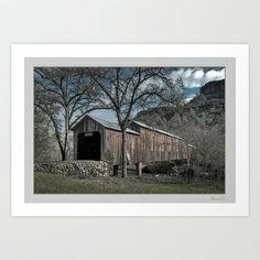 Honey Run Covered Bridge Art Print by David Lee Graphic Artist - $33.28