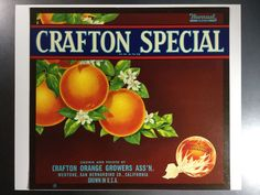 Mentone San Bernardino Crafton Special Grapefruit Citrus Fruit Crate Label Print