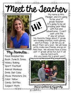 Back to School Idea: Over the summer, mail students a flyer telling them all about their new teacher.  Included pictures and fun information about yourself. They will love getting snail mail from their teacher. Also, include information about Open House or Meet the Teacher night so families can prepare for Back to School.