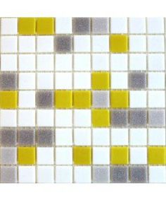 Gray White & Yellow Blend Brio Mosaic Glass Tile City Sunshine   Modwalls Designer Tile