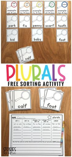 This file contains the materials needed for students to complete a plurals word sort. There are 5 header cards, 25 base word cards, a recording page, and answer key. After completing the sort, students will write a SUPER sentence with one of the plurals.