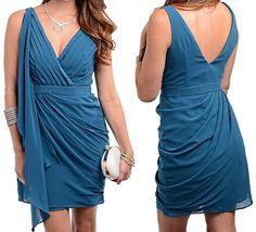 New Stylish V-Neck V-Back Sheath Drape Pleat Chiffon Fashion Dress Sz 2 #Fashion #Dresses #EmpireWaistDress #SheathDress #CocktailDress #PleatedDress
