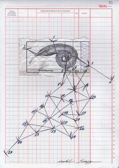 """Isabel Somoza / serie """" me meto en líos"""" nº27 Dibujo sobre ticket y papel de contabilidad"""