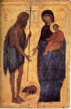 Saint John the Baptist and the Virgin and Child.Size: 101 x 67 cm. Very unusual icon. Religious Icons, Religious Art, Religious Images, Byzantine Icons, Byzantine Art, Madonna, Russian Icons, Jean Baptiste, Best Icons