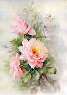Victorian Rose Prints Gallery : A Handful of French Pink Roses Print Cabbage Rose Sonie Ames Mais Art Floral, Floral Prints, Images Vintage, Vintage Retro, Vintage Postcards, Decoupage Vintage, Decoupage Art, Rose Art, China Painting
