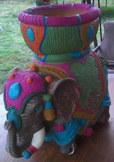 Hand painted elephant planter