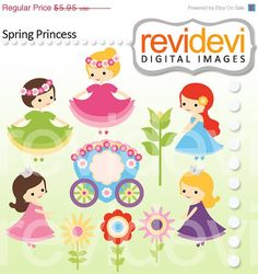 Cute princess cliparts in pink, green, purple, and blue. Digital graphic clip arts for your craft and creative projects. For Commercial Use (small