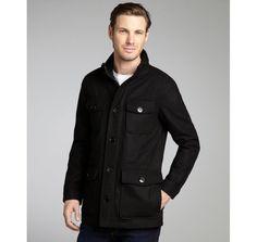 Kenneth Cole New York black wool-blend four pocket short military jacket