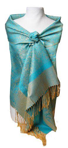 Jacquard Turquoise and Gold Tone Pashmina Shawl Wrap