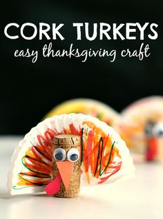 easy thanksgiving crafts - cork turkey!