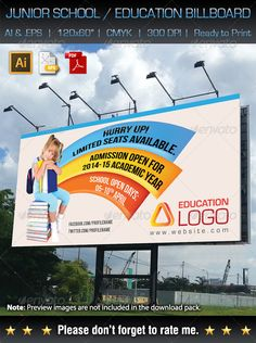 Junior School / Education Outdoor Billboard — Vector EPS #adobe #business • Available here → https://graphicriver.net/item/junior-school-education-outdoor-billboard/7095780?ref=pxcr