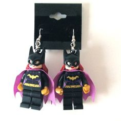 """These LEGO® Minifigures come directly from the DC Super Heroes LEGO® collection.   These earrings are very light weight and comfortable to wear. The earring material is quality surgical steel and are very well tolerated even on the most sensitive of ears.  All parts are securely attached, and the approximate measurements are 1.75"""" x 1"""" Fun and Function is such a nice combo!  Enjoy!  Val      This item is intended for decorative purposes and is not a toy.  LEGO® is a trademark of the LEGO® ... Lego Jewelry, Brick Art, Lego Brick, Girls Earrings, Business Card Holders, Batgirl, Ears, Special Occasion, Unique Gifts"""