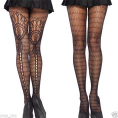 Lolita Floral Sheer Plume Feather Stockings Tights Detailed Fishnet Pantyhose OS in Clothing, Shoes & Accessories, Women's Clothing, Hosiery & Socks, Pantyhose & Tights   eBay