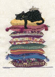 Black Cat Card by Jane Crowther. One of many cards for cat lovers. Bug Art at Tattypuss. I Love Cats, Crazy Cats, Cool Cats, Gatos Cool, Image Chat, Bug Art, Cat Cushion, Cat Quilt, Cats And Kittens