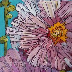 Pink Hollyhocks  4x4 square Original Acrylic painting by Karen Margulis