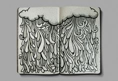 Rain (also idea for journal/art book) art journaling зентанг Doodles Zentangles, Zentangle Patterns, Zen Doodle, Doodle Art, Book Art, Tangle Art, Doodle Drawings, Copics, Art Journal Inspiration