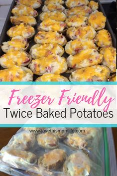 It's super easy to whip up a batch of twice baked potatoes and then freeze for an easy and quick meal later on. It's super easy to whip up a batch of twice baked potatoes and then freeze for an easy and quick meal later on. Freezable Meals, Make Ahead Freezer Meals, Freezer Cooking, Healthy Meals, Cooking Recipes, Healthy Recipes, Freezer Recipes, Crockpot Meals, Kid Meals