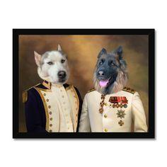 The Admiral & The Sargent: Custom Pet Portrait - A5 / Black Frame