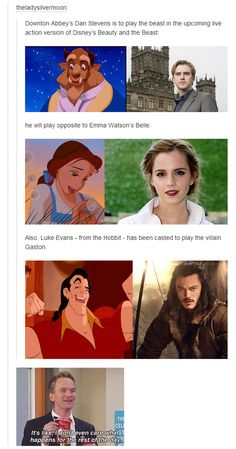 Add on Emma Thompson as Mrs. Potts, Josh Gad as LeFou, and Kevin Kline as Maurice, and this is the perfect Beauty and the Beast cast! Disney Pixar, Disney And Dreamworks, Disney Magic, Disney Movies, Walt Disney, Disney Stuff, Funny Disney, Pixar Movies, Disney Fun Facts