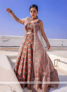 Cream Pink Colour Taffeta Silk Fabric Party Wear Lehenga Choli Comes With Matching Blouse. This Lehenga Choli Is Crafted With Embroidery. This Lehenga Choli Comes With Unstitched Blouse Which Can Be S. Lehenga Choli Designs, Kurta Designs, Indian Gowns Dresses, Indian Fashion Dresses, Dress Indian Style, Indian Designer Outfits, Lehenga Top, Jacket Lehenga, Lehnga Dress
