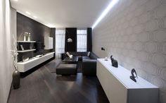 Smal appartement met zwart-wit interieur