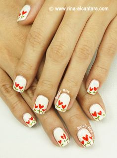 Planted Hearts Nail Art Design