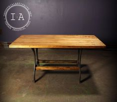 """This vintage industrial kitchen table features a beautiful 60"""" x 29 1/2"""" top. The 1 1/2"""" thick butcher block table top rests on a pair of antique cast iron Price table legs. The Price stamp can be seen on both of the legs. The footprint of this table measures 36"""" x 22 1/2"""". The table stands 29"""" tall. Please take a close look at all of the photos. *THIS IS A LARGE ITEM THAT WILL NEED TO BE SHIPPED VIA FREIGHT. FREIGHT SHIPMENT RATES VARY DEPENDING ON THE BUYER'S LOCATION, CONTACT OUR STAFF AT…"""