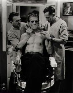 seufzen:    Boris Karloff on the make up chair for Frankenstein.