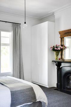 Pencil Pleat Curtain On Riverstone Deco Rod In Sabi – Fabric. Pelmet Designs, Curtain Room, Pelmets, Pleated Curtains, Pencil Pleat, Custom Windows, Beautiful Space, Beautiful Interiors, Window Treatments