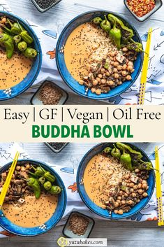 Build your own Buddha Bowl (with mung bean sauce) - How to make a buddha bowl plus how to make the most delicious sauce for rice and vegetables. Our healthy, quick and easy vegan recipe buddha bowl meal prep. Try our Buddha Bowl recipe which is vegan, gluten free, healthy, oil-free and comes with a delicious mung bean sauce for your rice and veggie. Easy and with tofu grilled with thai paste. #budhabowl #vegan #sauce #tofu #easy #thai #dressing Unique Recipes, Vegan Recipes Easy, Vegetarian Recipes, Ethnic Recipes, Buddha Bowl Vegetarian, Sauce For Rice, Mung Bean, Vegan Restaurants, Different Recipes