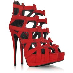 Giuseppe Zanotti Red Suede Platform Sandal ($500) ❤ liked on Polyvore featuring shoes, sandals, heels, sapatos, high heels, platform sandals, heeled sandals, sexy sandals, high heel platform sandals and strap sandals